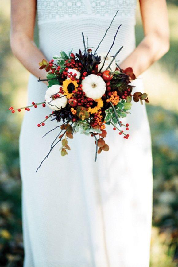 Autumn wedding bouquet... I like the small sunflowers