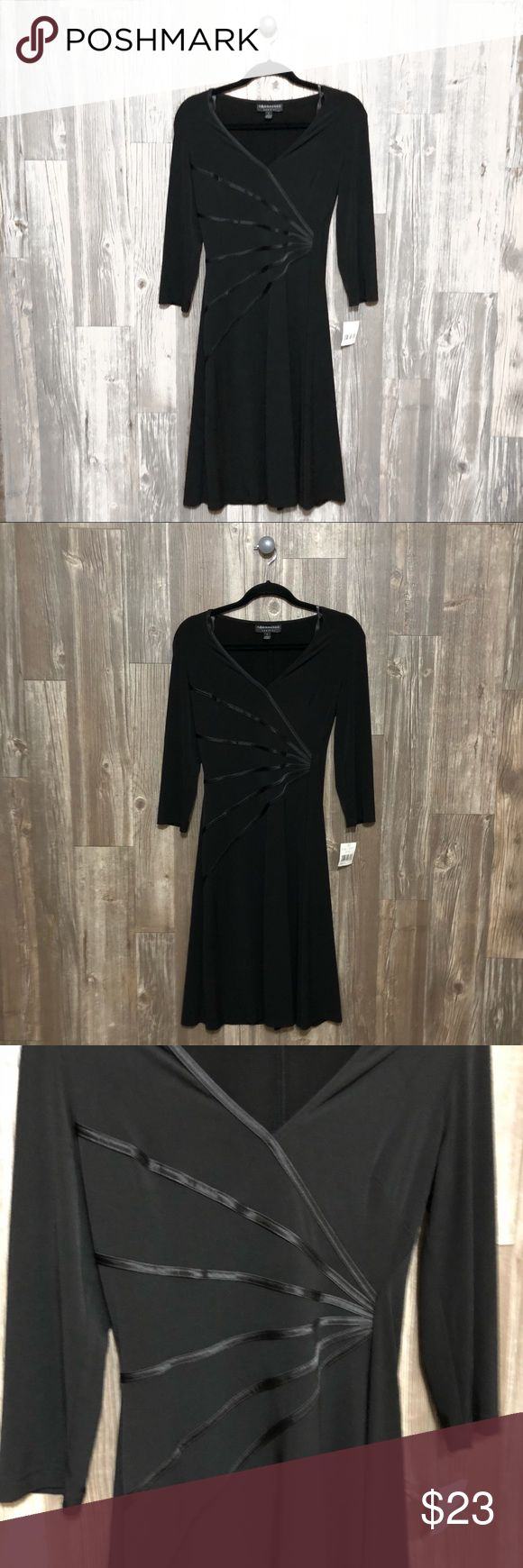 NWT Connected Apparel Black Dress New with tags Connected Apparel Black Dress! Has gorgeous faux leather lines accentuating your waist. Great condition. Size 8! Measurements: Connected Apparel Dresses