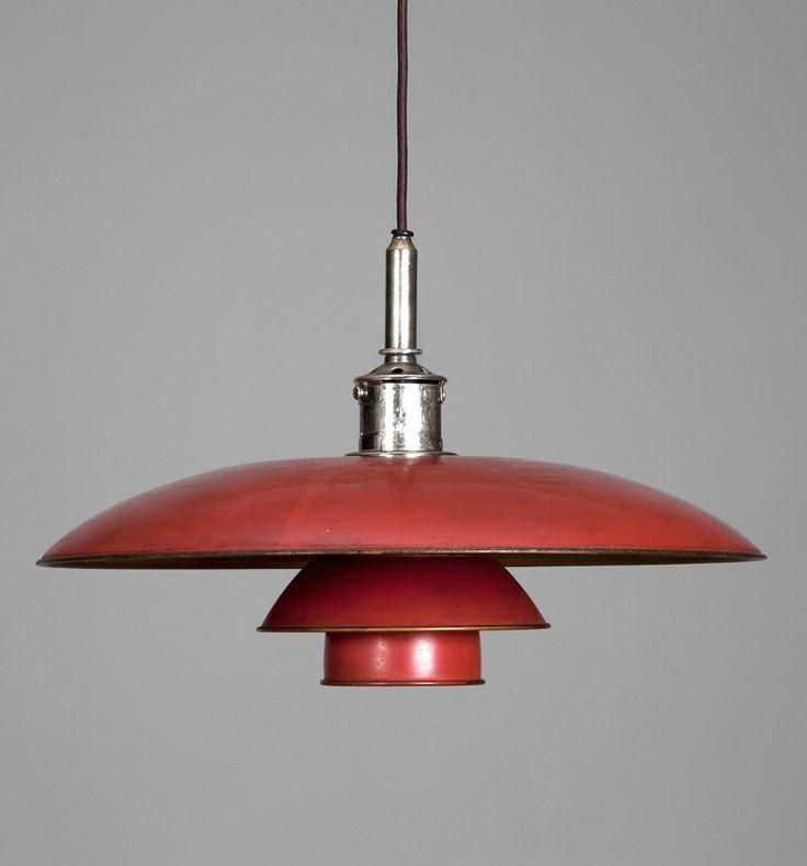 Poul Henningsen; #PH 5/3 Chromed Metal and Enameled Copper Ceiling Light for Louis Poulsen, c1927.