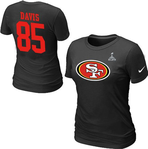 Nike San Francisco 49ers 85 Vernon Davis Name & Number Super Bowl XLVII Women's TShirt Black