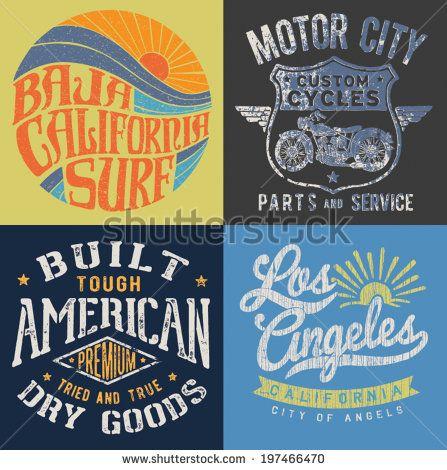 Vintage T-shirt Graphic Set 1 - stock vector