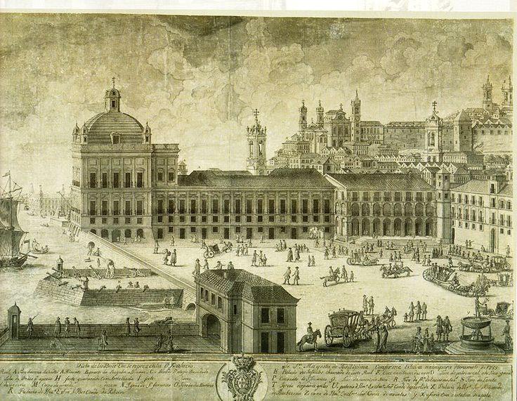 Paço da Ribeira em 1755 - Praça do Comércio – Wikipédia, a enciclopédia livre