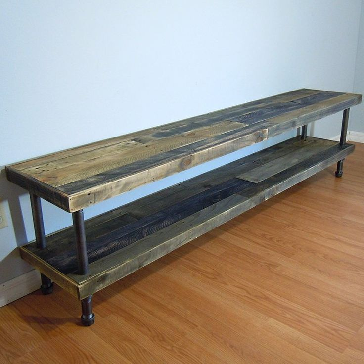 SALE! Reclaimed pallet wood media stand, TV console, console table, TV media, pipe legs