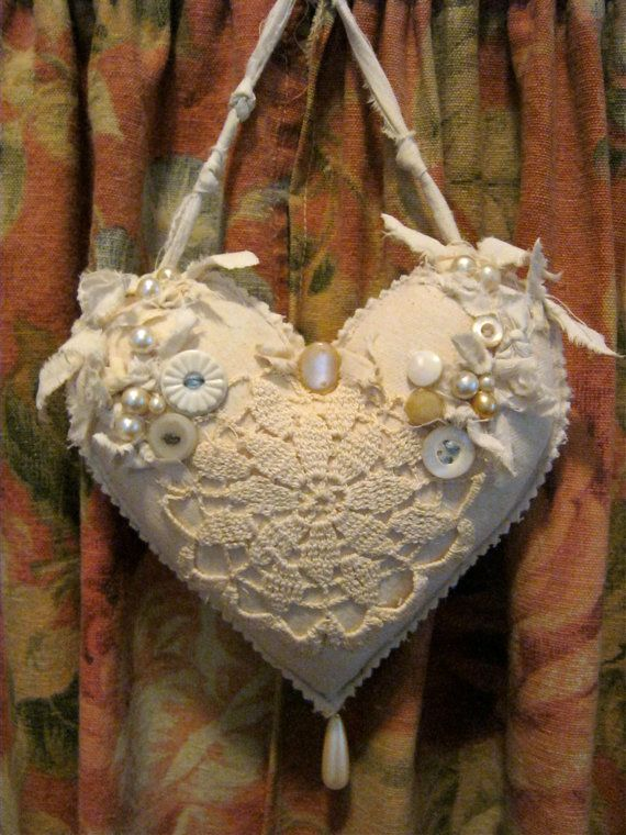 Fabric ooak heart pillow- pretty- shabby chic pillow- romantic heart pillow- fiber art- frayed edges- pearls and buttons