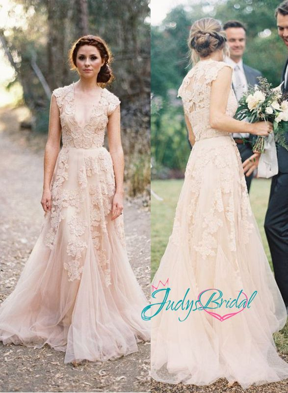 sexy vintage peach blush colored deep v neck lace overlay tulle wedding dress evening gown