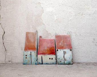Miniatur-Keramik-Häuser, Lehmhäuser, Skulptur, handgefertigte Keramik, Weihnachtsgeschenk, Einweihungsparty, Wohnkultur, einzigartiges Geschenk, Geschenk-Ideen, ein von einer Art