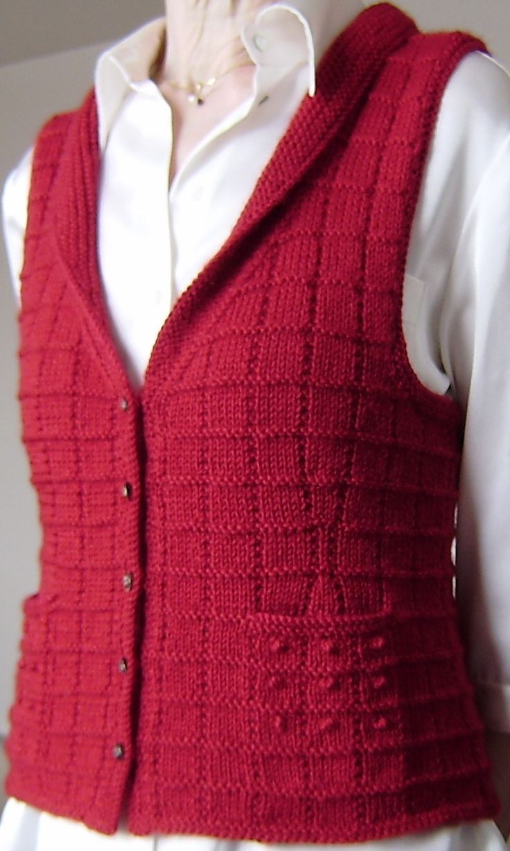 Free Knitting Pattern for Buttonbox Vest More