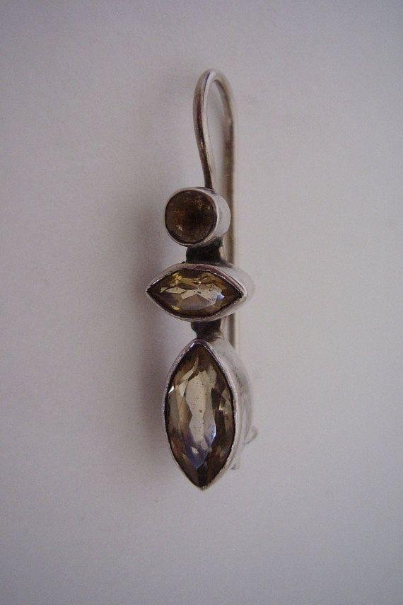 Earrings Solid Silver Pale Lemon Citrine Gemstone Carved