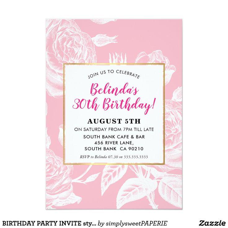 BIRTHDAY PARTY INVITE stylish engraved rose pink #birthdayinvitation #partyinvitations #adultinvitation #adultinvites #zazzle #zazzlemade #featurethis #floralinvite #roseinvite