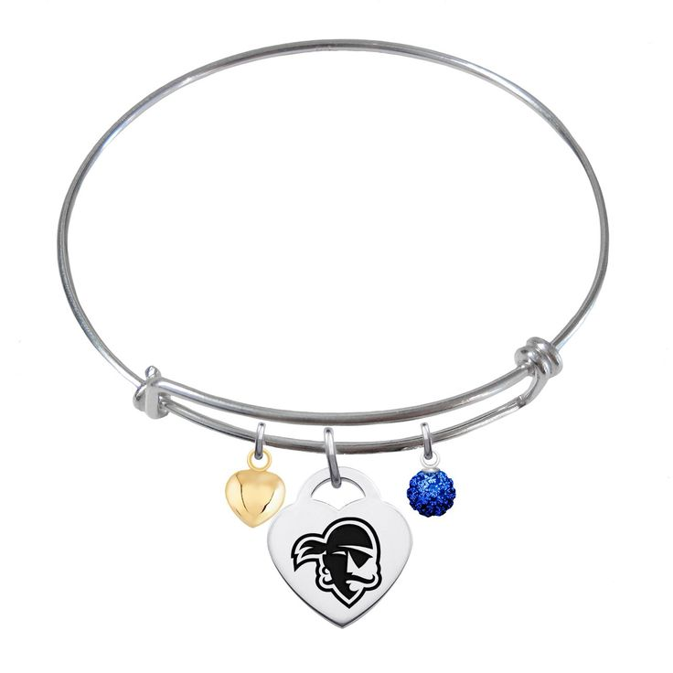 Seton Hall Pirates Sterling Silver Adjustable Bangle Bracelet with Heart Charm. Officially Licensed Seton Hall University Pirates Bracelet. Solid Sterling Silver - NOT PLATED. Adjustable Bracelet Size. High Quality - Great Detail. Antique Finish Heart Charm.