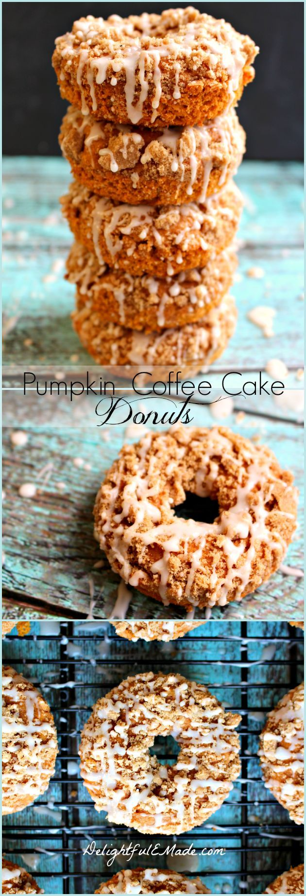 Pumpkin Coffee Cake Donuts by DelightfulEMade.com | Moist, pumpkin spice cake topped with a brown sugar struessel and a vanilla glaze, these donuts are HEAVENLY! | This is a really popular pin!!