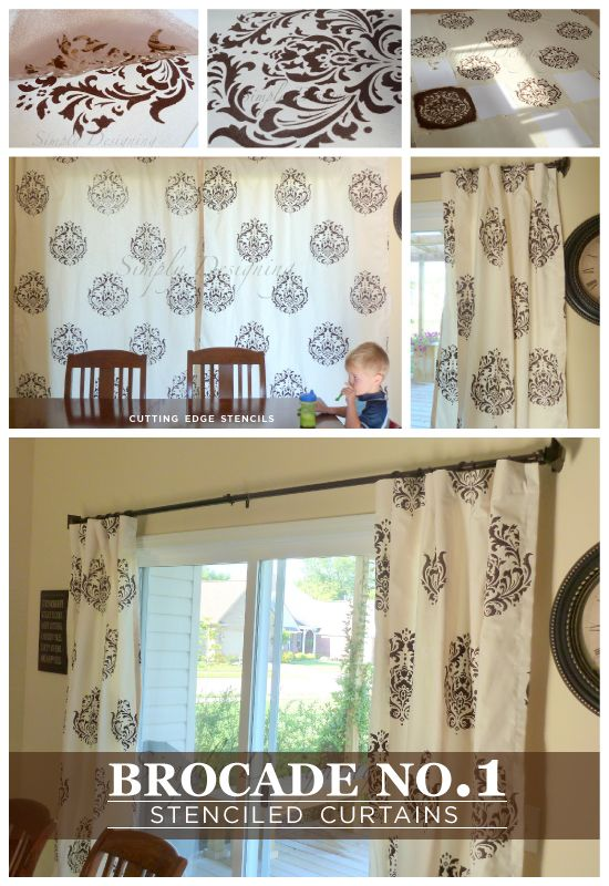 Beautiful DIY Curtains Using The Brocade No1 Stencil From Cutting Edge Stencils