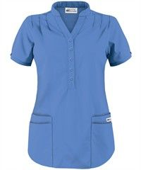 UA Best Buy Scrubs Women's Mandarin Collar Scrub Top. I prefer the eggplant for color.
