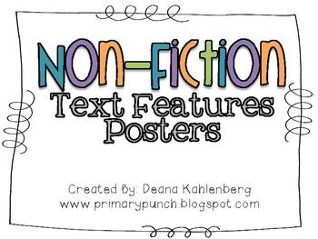 FREE Non-Fiction Text Features Posters This is SO PERFECT if you teach 3rd grade!