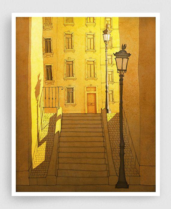 Parijs illustratie ochtend Shine Montmartre Art Print door tubidu