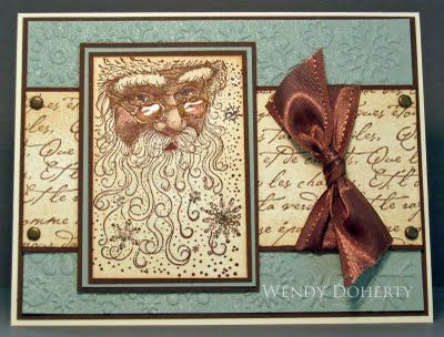 Grunged Santa Card...with script writing paper & brown bow...Stamping Styles: Santa Collage.