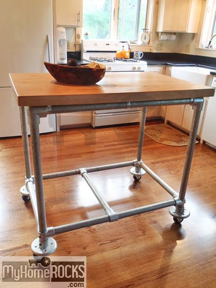 Rolling Kitchen Island Constructed From Pipe, Kee Klamp Pipe Fittings And A Butcher  Block. Inspiration To Build Your Own Rolling Kitchen Island  May Be With ...