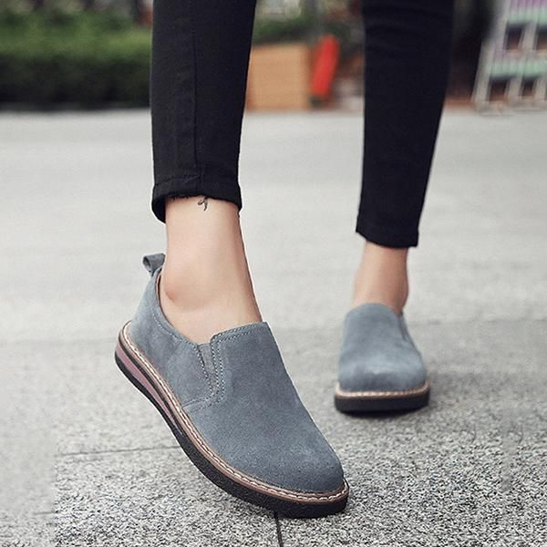 Women Slip On Leather Round Toe Gladiator Casual Loafers Daily Flat Shoes Lazy