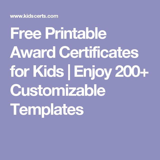 Free Printable Award Certificates for Kids | Enjoy 200+ Customizable Templates