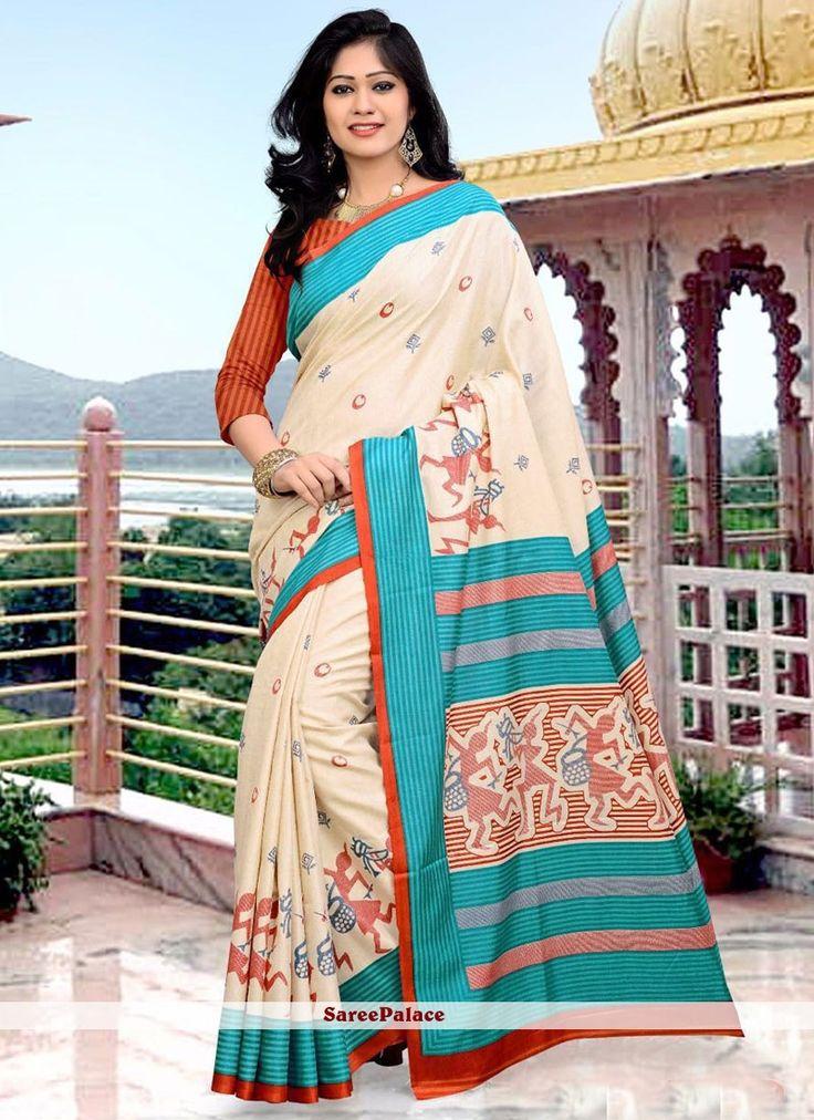 Trendy Multi Colour Art Silk Printed Saree