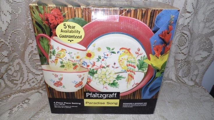 PFALTZGRAFF 4 PC PLACE SETTING PARADISE SONG 2003 FLORAL DESIGN DISCOUTINUED NIB #Pfaltzgraff #FloralPARROTBIRD