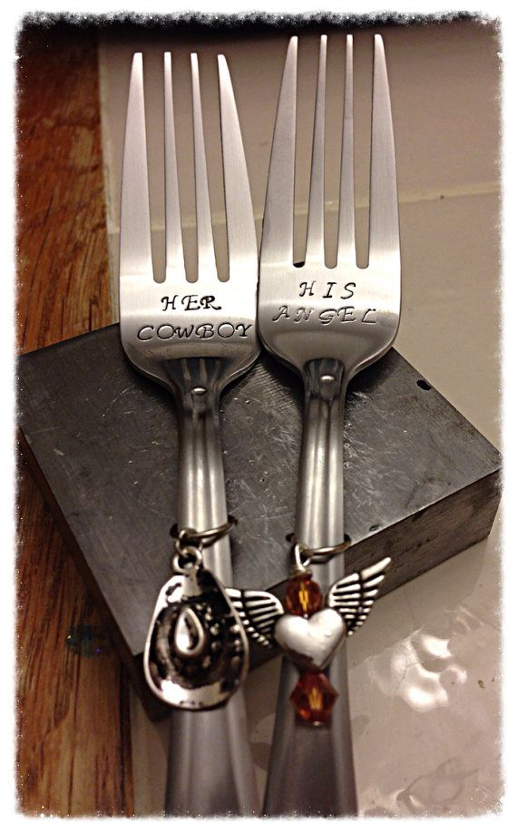 Her Cowboy His Angel hand stamped Wedding Cake Forks (love love love this, plus you can frame them and put them up as decoration in your kitchen) <3