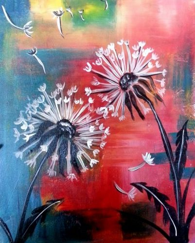 Dandelion painting with multiple colored background. Paint Nite