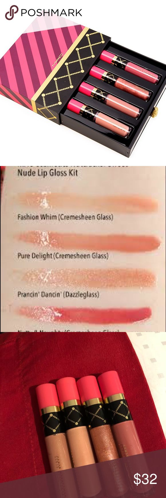 Mac nutcracker nude lip gloss set 100% authentic money back guarantee (posh protection) I purchased this during the 2016 holiday season collection so I do not have the receipt anymore. I have never used this limited edition set. This is the nutcracker sweet nude lipgloss set. The gloss sizes are *MINIS* The hard case is included! (Has a few nicks on it from being stored but like new) This set is no longer sold! Get it before it's gone forever MAC Cosmetics Makeup Lip Balm & Gloss