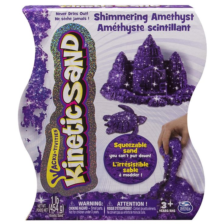 Now in Shimmering Amethyst! Kinetic Sand is the squeezable sand that you mold with your hands! You've seen it before, but you've never felt anything like it! Pack it, pull it, shape it and love it, Kinetic Sand is so incredible you can't put it down. It's kinetic - meaning it sticks to itself and not to you! It oozes, moves and melts right before your eyes. It flows through your fingers like a slow-moving liquid, but leaves them completely dry. Kinetic Sand stimulates children...