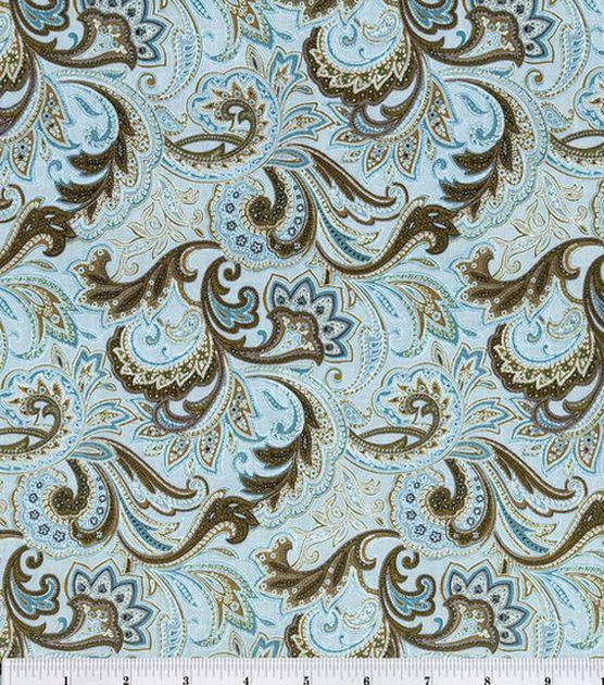 Keepsake Calico Cotton Fabric-Paisley Aqua