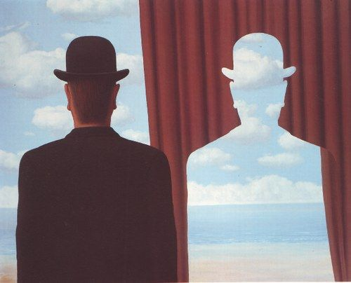 Magritte.  Good example of balance and positive and negative space