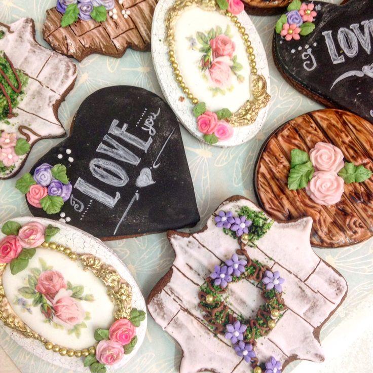 Galletas decoradas con técnicas rústicas, rústico cookies,