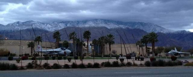Palm Springs Air Museum, always the awesomeness. Fresh snow on Mt San Jacinto in the background (Feb 16, 2012)