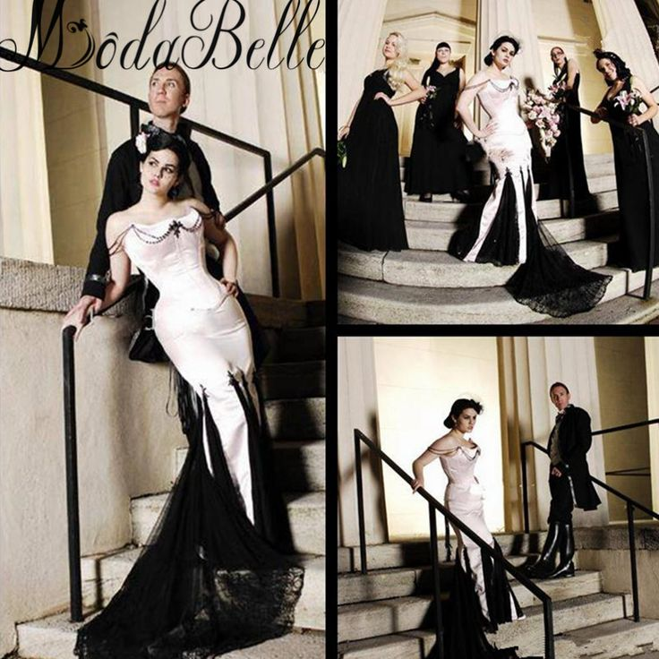 ==> [Free Shipping] Buy Best Black And White Victorian Gothic Wedding Dress Strapless Vestido De Novia Pearls Vintage Wedding Dress 2017 Abito Da Sposa Online with LOWEST Price | 32789551762