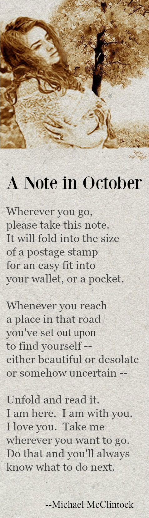 Poem: A Note In October    By Michael McClintock.