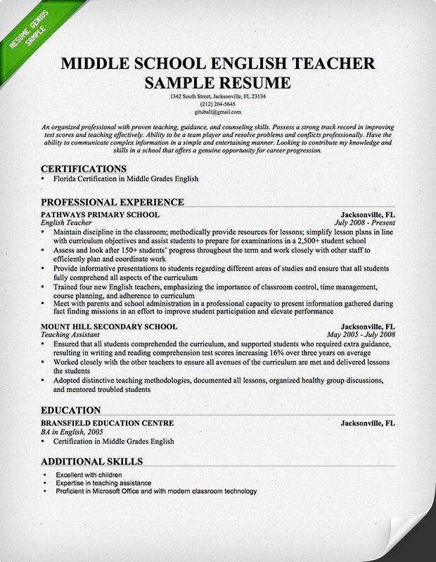 For Teachers 4-Resume Examples Teaching resume, Teacher resume