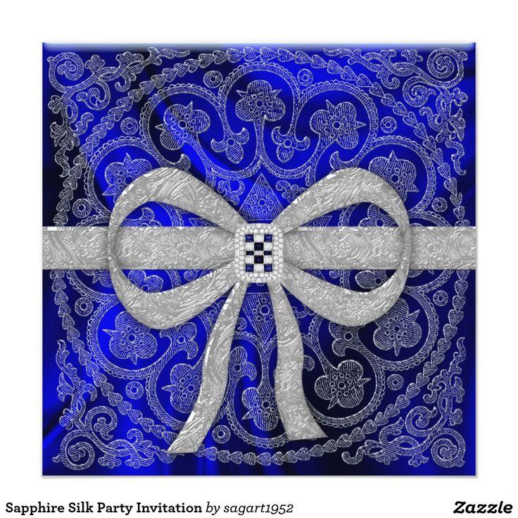 sapphire wedding anniversary invitations%0A Sapphire Silk Party Invitation
