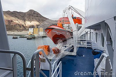 Deck on the ferry boat in harbour in Porto Santo Island , Near the Madeira Island , Portugal. Europe.