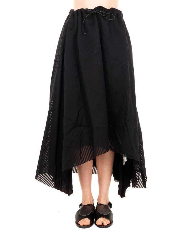 A TENTATIVE ATELIER SKIRT WITH DRAWSTRING S/S 2016 Skirt with waist drawstring leather string striped pattern raw cut seam  44 % Silk 56% Cotton specialized wash only