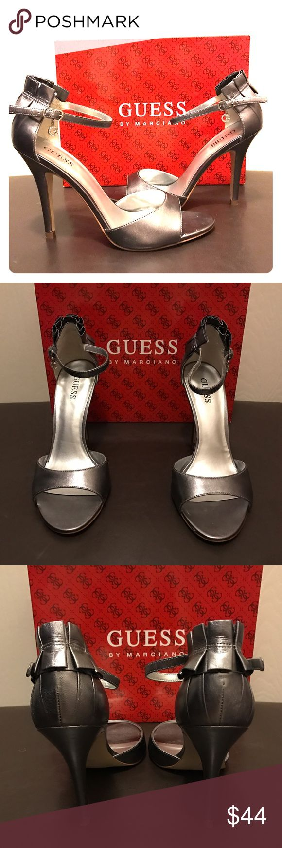 Guess Strappy Heels Pums Excellent condition. Worn once.  Pewter leather. Shoes Heels