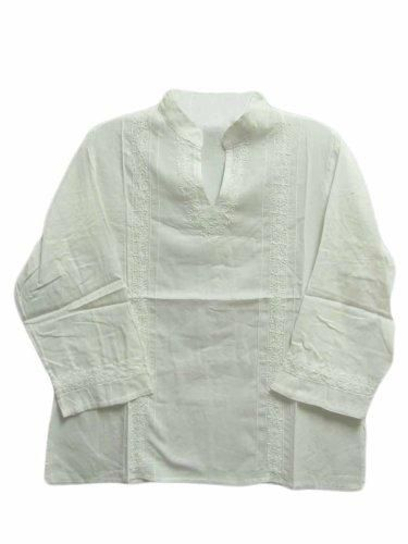 Womens Indian Mandarin Collar Hand Embroidered Gauze Cotton Kurti Tunic Top (Regular, White) 100% Gauze Cotton. Light, Comfortable to Wear. Hand-Embroidered Designs on each one. Made in India.  #Yoga_Trendz #Apparel