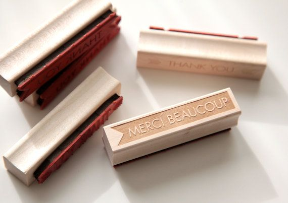 Merci Beaucoup Thank You Rubber Stamp in by HunterandCoDesigns