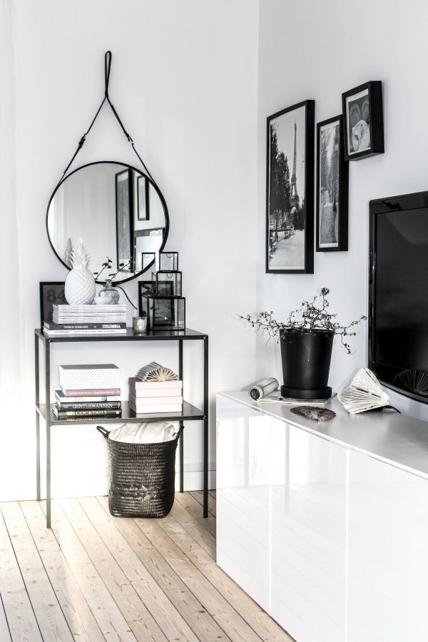 Styling with Adnet mirror: Side Tables, Living Rooms, Round Mirror, Black Books, Home Decor Ideas, Black And White, Black White, Adnet Mirror, House