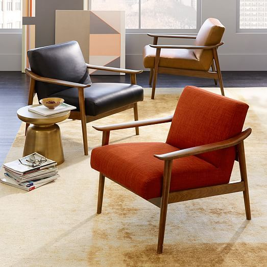 West Elm. 2 side chairs. $999 each (leather ones) $599 upholstery. Midcentury Show Wood Leather Chair, Saddle/Espresso