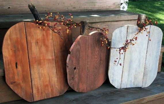 Rustic Pallet Wood pumpkin set fall porch by PolishedExpression