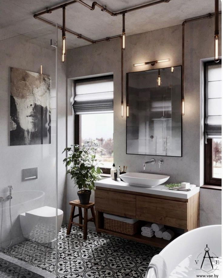 Bathroom Flooring Ideas Is The Foundation Of Your Bathroom And Whatever You Choose To Lay Industrial Style Bathroom Bathroom Design Industrial Bathroom Decor
