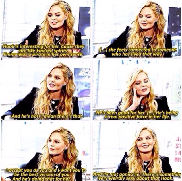 "Jennifer Morrison on Emma's relationship with Hook. ""And I'm not gonna lie there is something very weirdly sexy about that hook."" Colin's a married man, Jen! ;) lol"