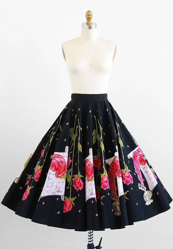 vintage 1950s love letter novelty print circle skirt | rockabilly skirs + dresses | www.rococovintage.com