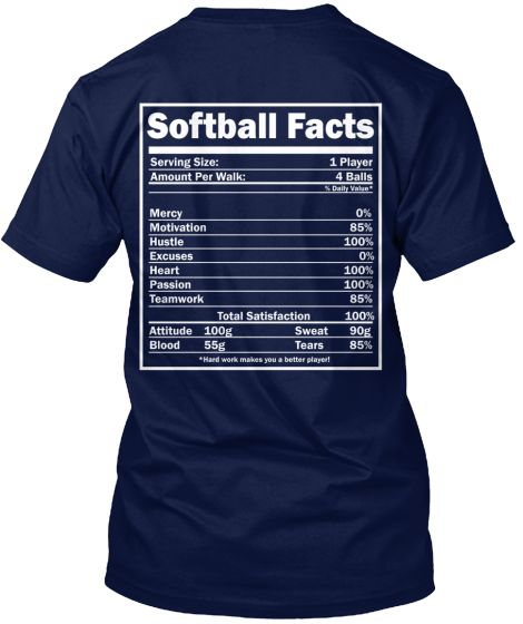 "This LIMITED EDITION ""Softball Facts"" t-shirt or hoodie defines exactly what us Softball players are made of!LIMITED EDITION T-SHIRT ONLY $22.99 - ENDS SOON!  Not sold in stores.Click ""Buy it now"" to pick your size and order!"