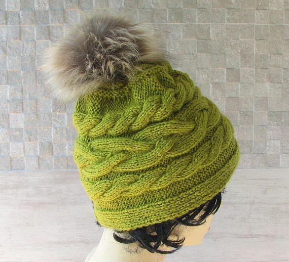 Women Knit Hat with pom pom Greenery Slouchy Beanie Womens #beanie #hat #knitted